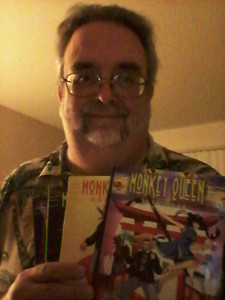 A happy author with his books.
